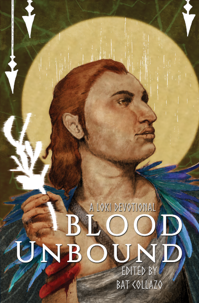 Blood Unbound cover art of Loki holding glowing mistletoe