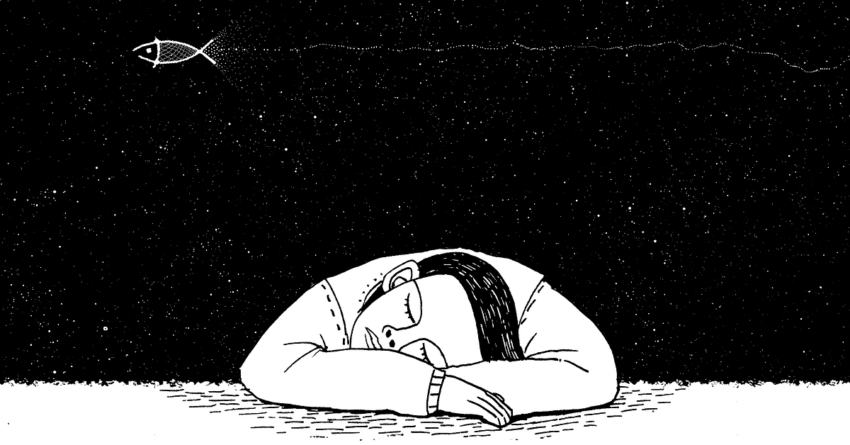 Sleeping dreamer with a fish in the night sky by cdd20 on Pixabay