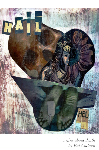 Hail Hel zine cover featuring a skull, toe tag, and goddess